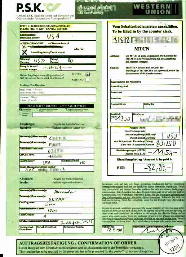 how to send money internationally with western union form